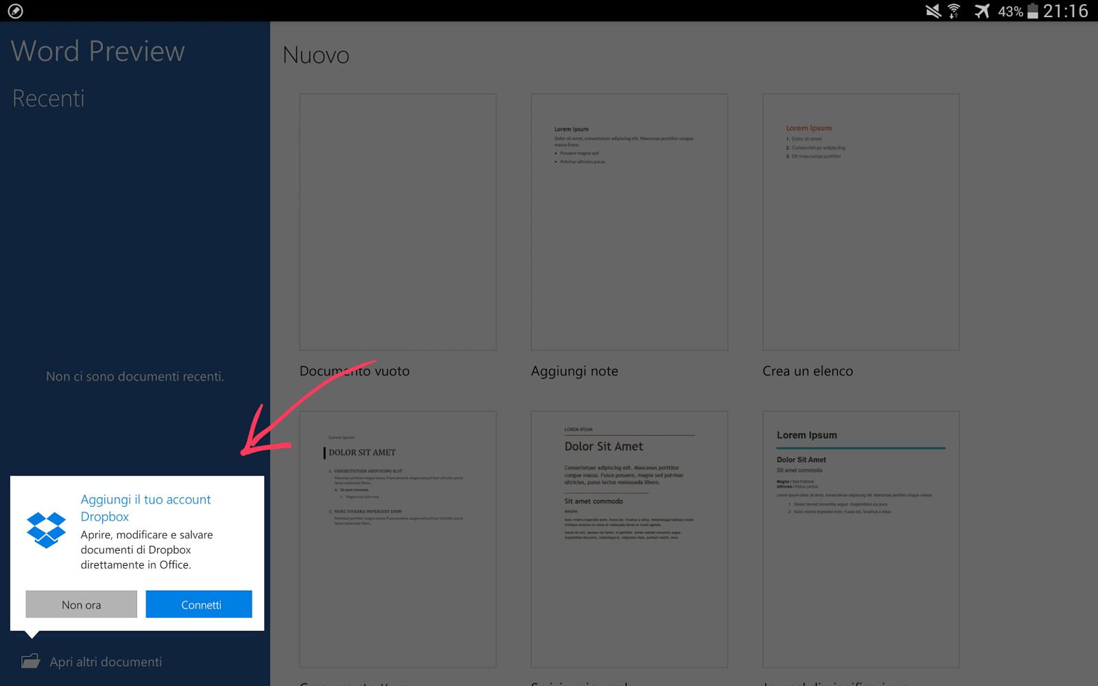 schermata di word per tablet in cui si puo' effettuare login in proprio account Dropbox