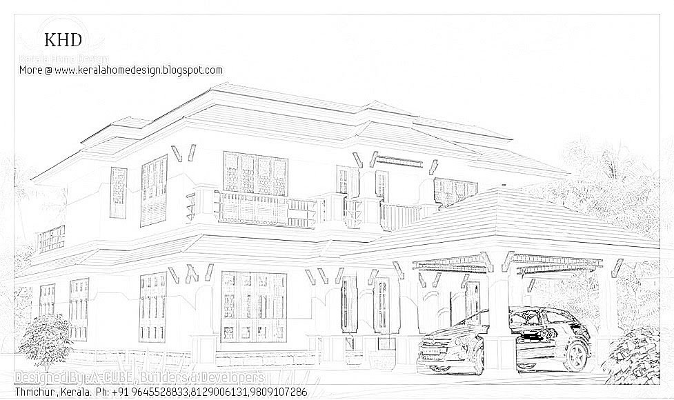 Kerala style house architecture 2600 sq ft kerala for 2600 sq ft house plans