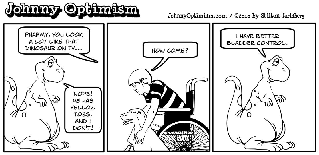 Johnny Optimism, johnnyoptimsim, pharmy, dinosaur, medical humor