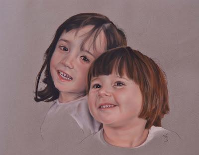 Retrato de dos niñas a pastel