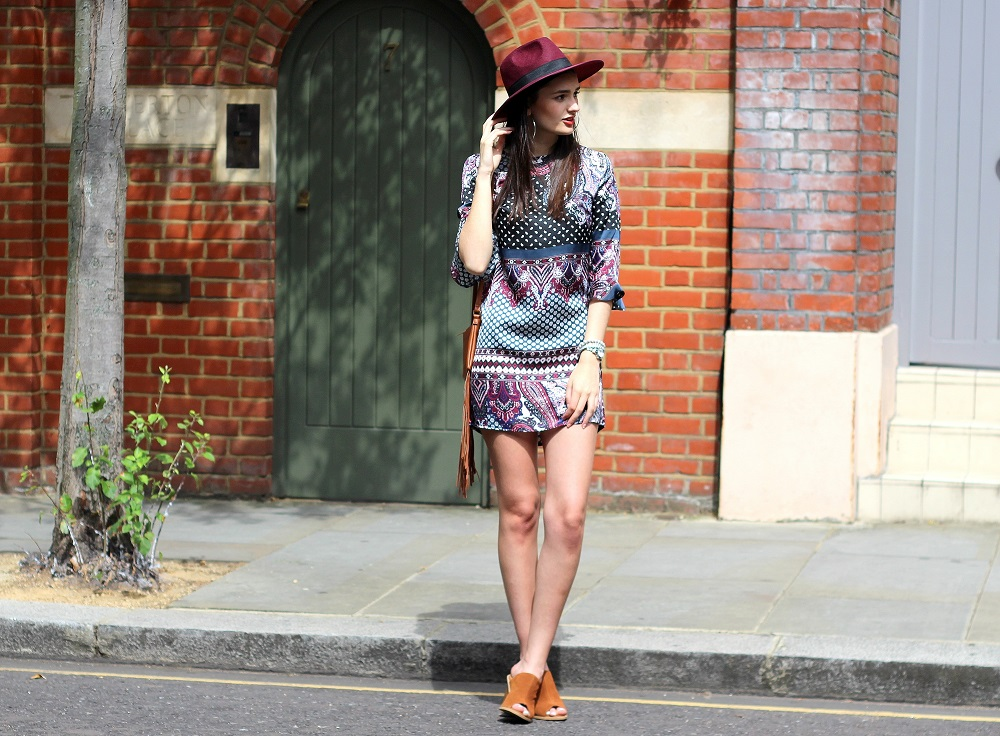 peexo fashion blogger wearing madam rage boho dress with fedora and suede mules
