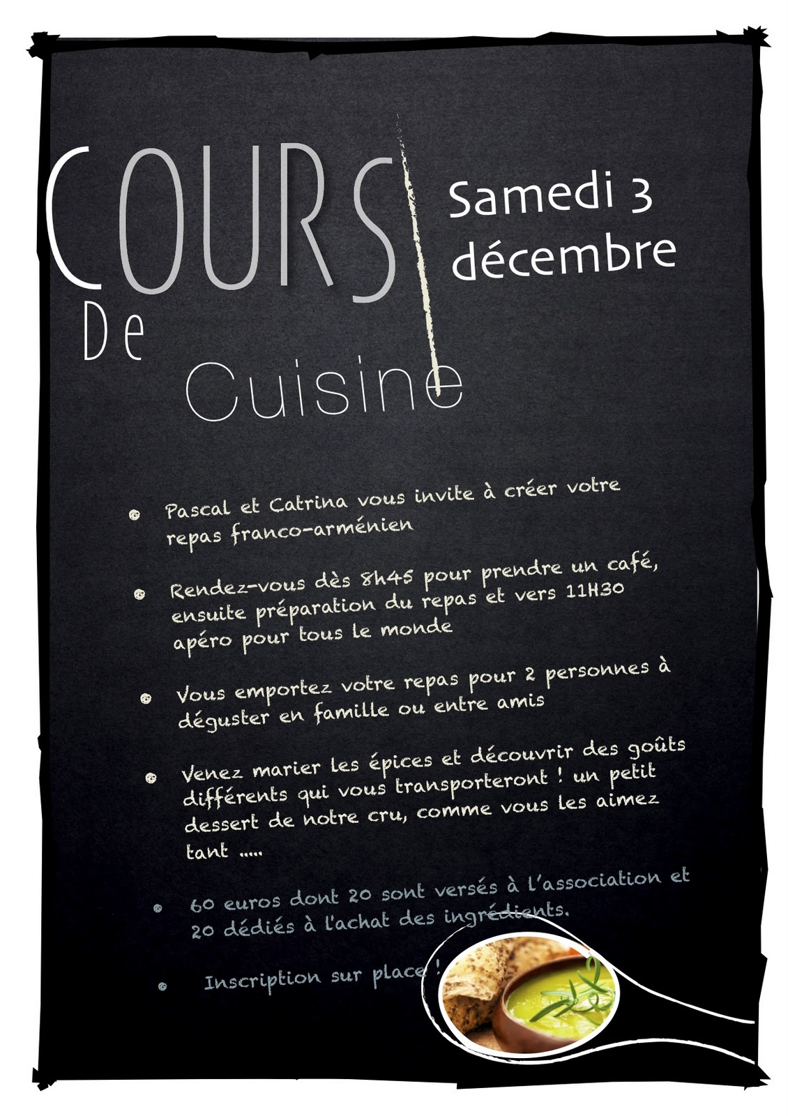 cosy restaurant nantes affiche cours de cuisine. Black Bedroom Furniture Sets. Home Design Ideas