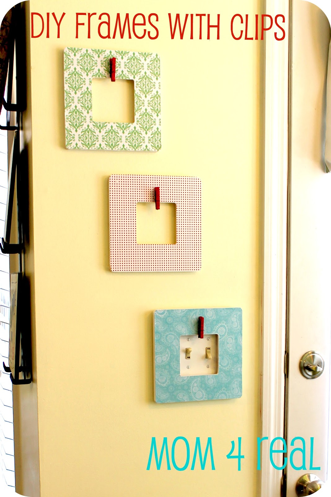 DIY Decoupaged Picture Frames w/ Clips - Mom 4 Real