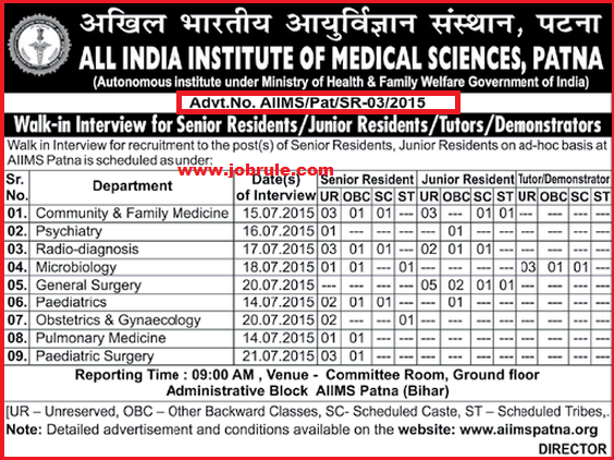 AIIMS Patna Latest Job Advertisement (Residents, Tutors & Demonstrator) | Walk-In-Interview July 2015 as per Schedule