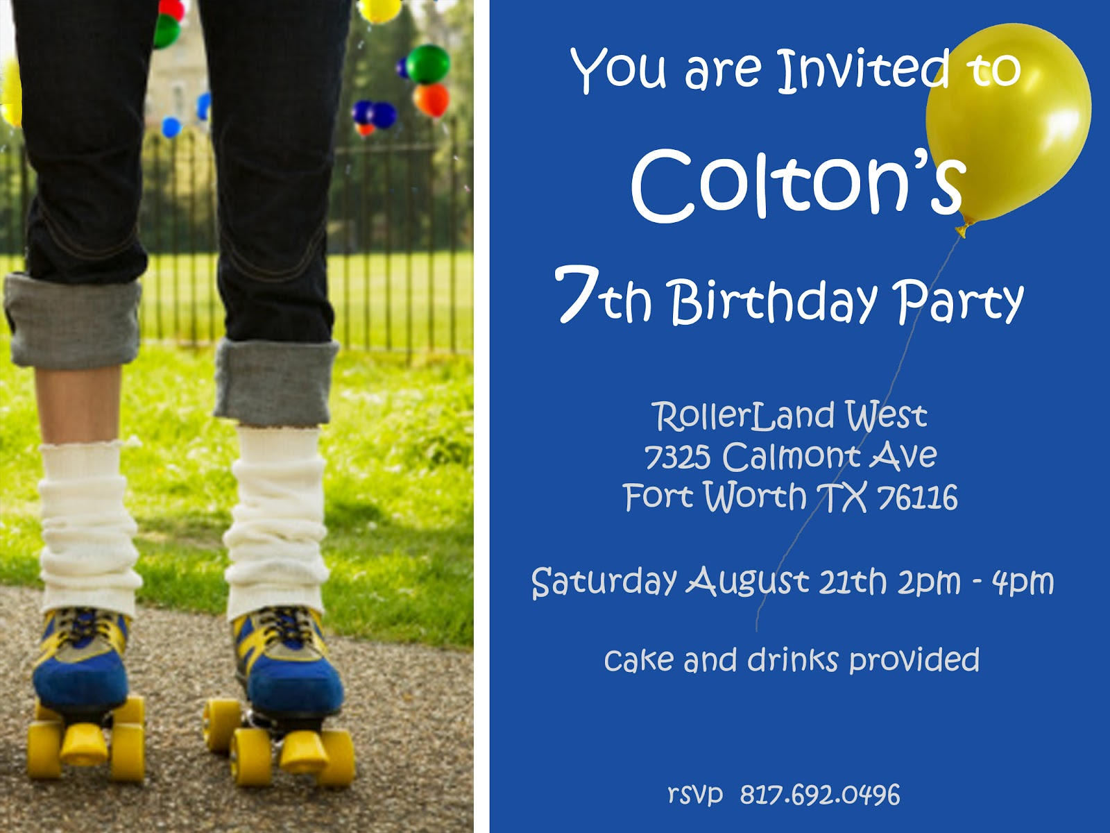 Reed This Studio: Boy\'s Roller Skating Birthday Party Invitation