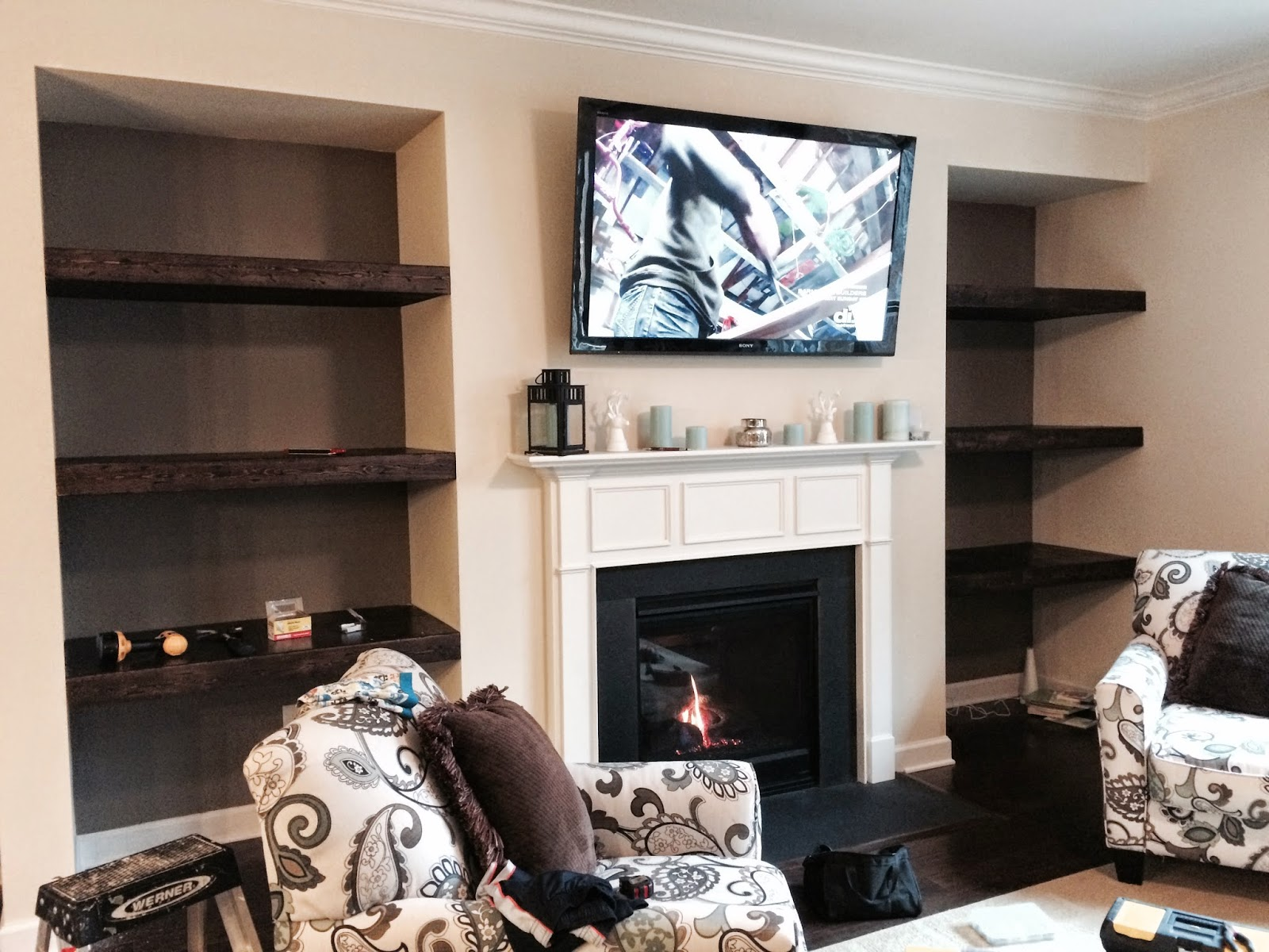 Stilettos and Diapers Built in floating shelves DIY