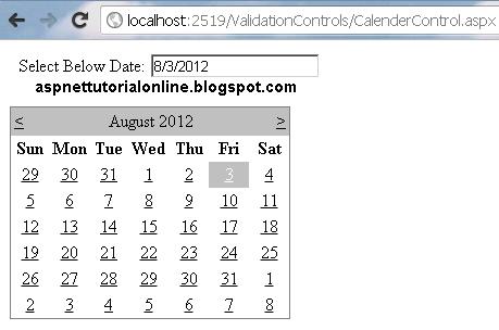 ASP.NET Calendar Control Example with C#