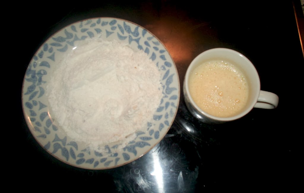 harina y huevo batido