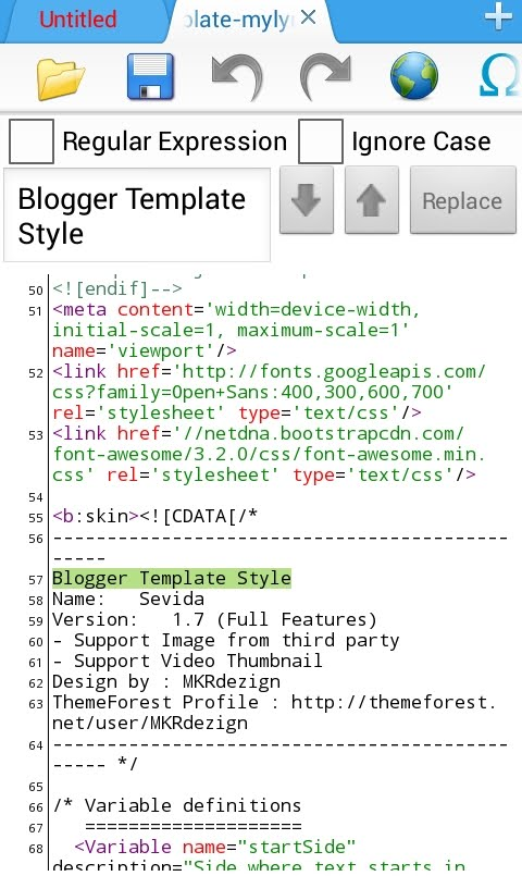 find blogger template name
