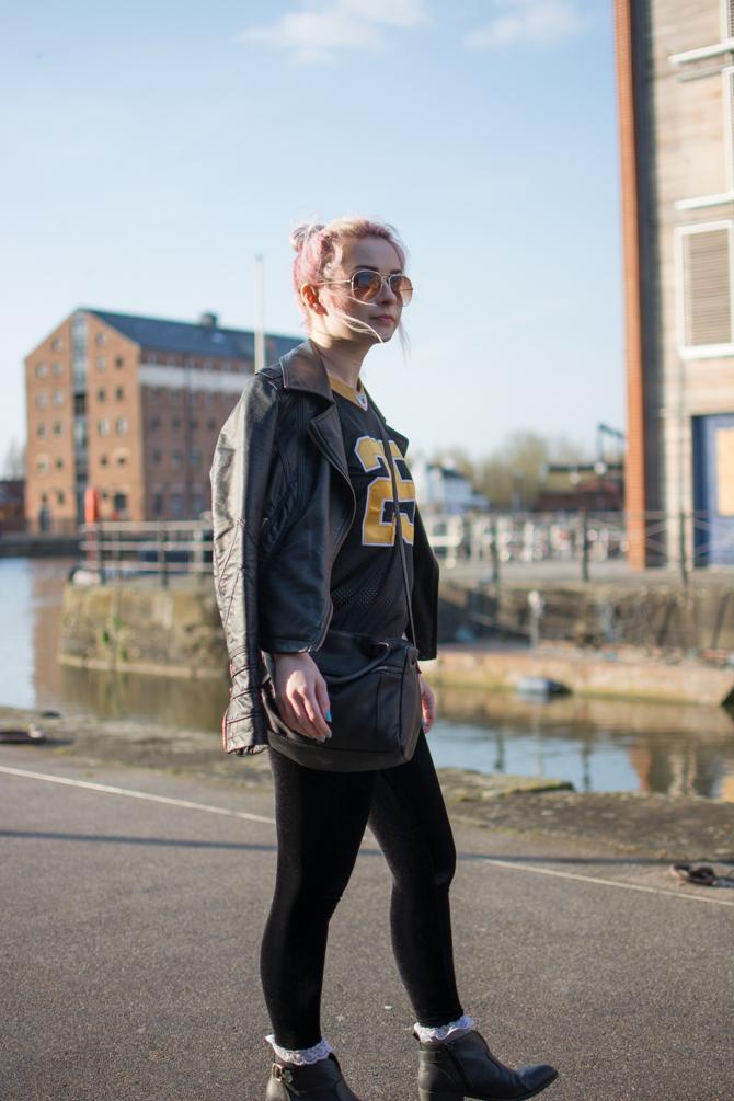 girl walking around gloucester docks