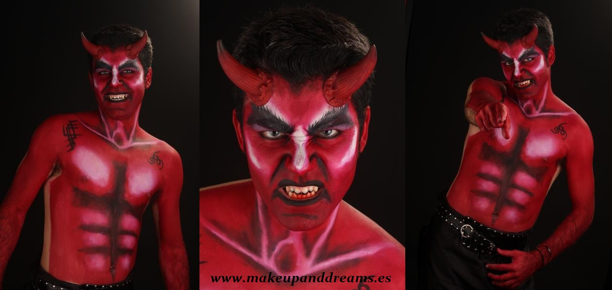 make up demon devil maquillaje demonio hombre bodypainting body paint