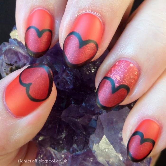 Red Heart Tips Nail Art