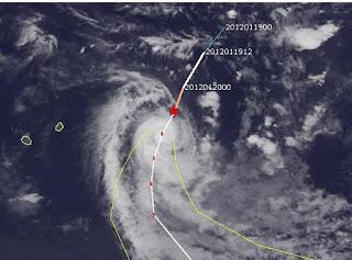 ETHEL als Hurrikan bei Rodrigues, Ethel, aktuell, Satellitenbild Satellitenbilder, 2012, Indischer Ozean Indik, Zyklonsaison Südwest-Indik, NASA, Januar,