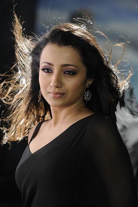 trisha in guard movie black saree , hot photoshoot