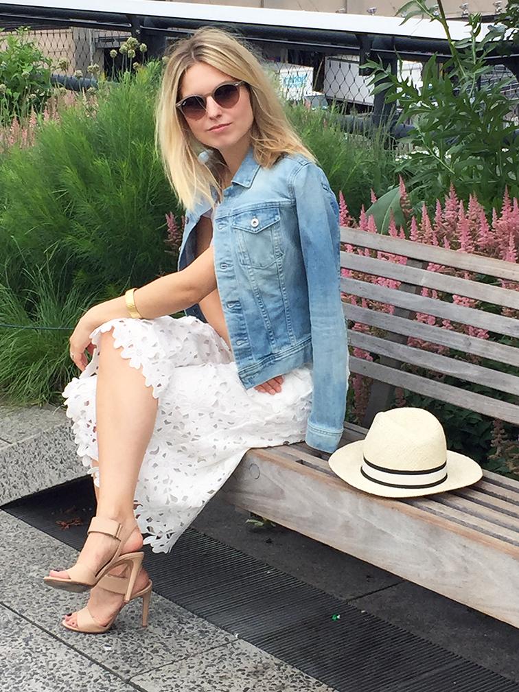 AG Jeans denim jacket, Line & Dot lace culottes, Vince nude Gemma heels