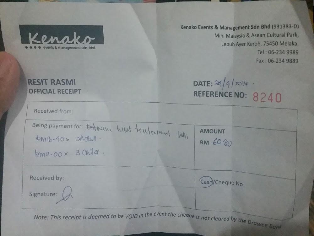 Tiket ke Taman Mini Malaysia