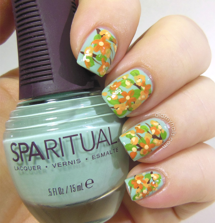 orange nail art flowers