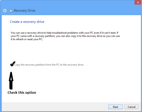 ready to create recovery drive