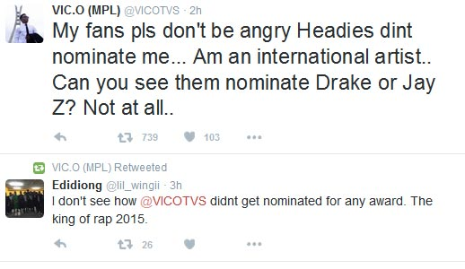 "Check Out Why ""Rap King"" Vic O Was Not Nominated For The Headies"