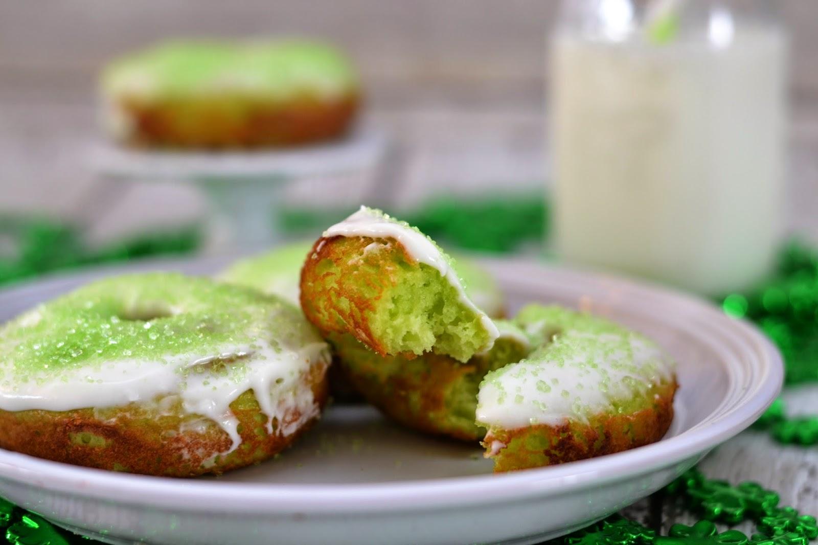 Shamrock Glazed Donuts #Recipe. Easy Donut Recipe.  St. Patrick's Day treats.  St. Patrick's Day desserts.  St. Patrick's Day donuts.  Shamrock Donut recipe.  St. Patrick's Day Recipes.