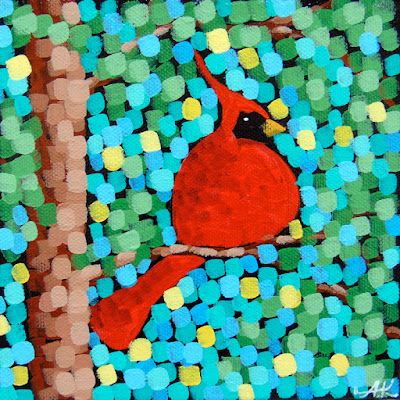 summer splendor, acrylic painting by aaron kloss artist, cardinal painting, sivertson