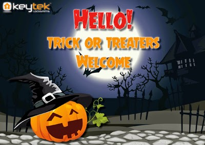 Trick or treat welcome Halloween poster by Keytek Locksmiths