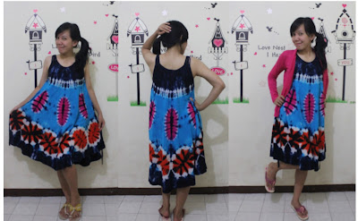 batik pekalongan dress tali biru