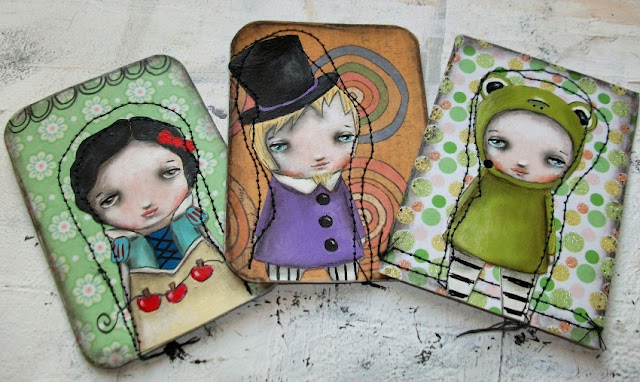 Stitched and painted aceo cards by Micki Wilde