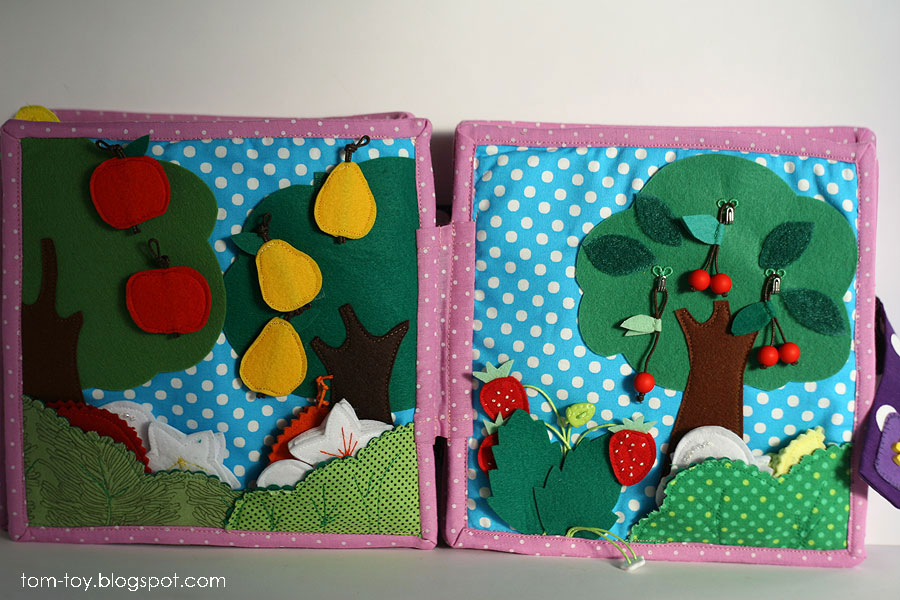 Quiet book for Caitlyn, busy book, gift for children, fruits garden, felt apples, pears, strawberres and cherry, развивающая книжка, фруктовый сад, яблоки груши клубника и вишня