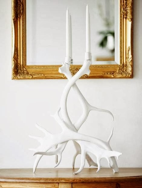 antlers white candleholders
