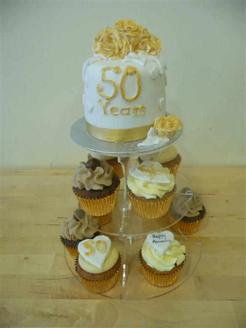 Golden Wedding Anniversary Cupcake Tower by The Little Cupcake Cafe