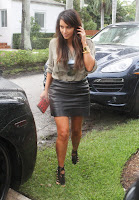 Kim Kardashian  House Hunting in Miami Beach wearing a leather skirt