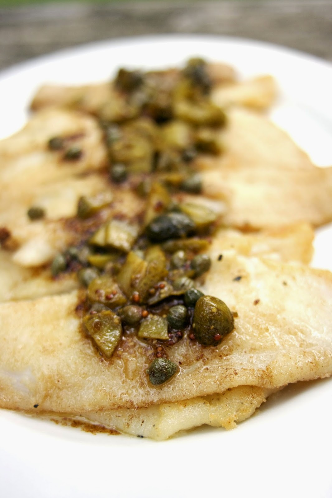 Sole with capers, cornichons and brown butter sauce- simplelivingeating.com