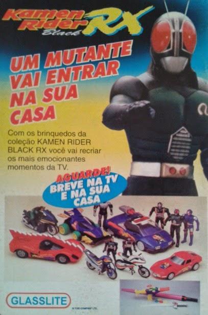 Propaganda da coleção de brinquedos do Black Kamen Rider RX, da Glasslite.