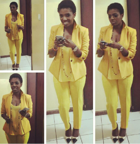 Annie Idibia oozes sex appeal in yellow suit