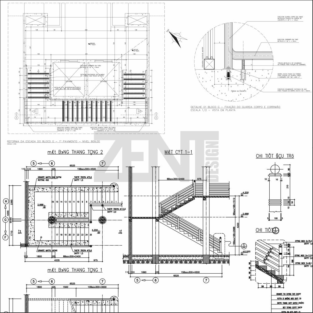 zent design 2d escaleras de concreto planos