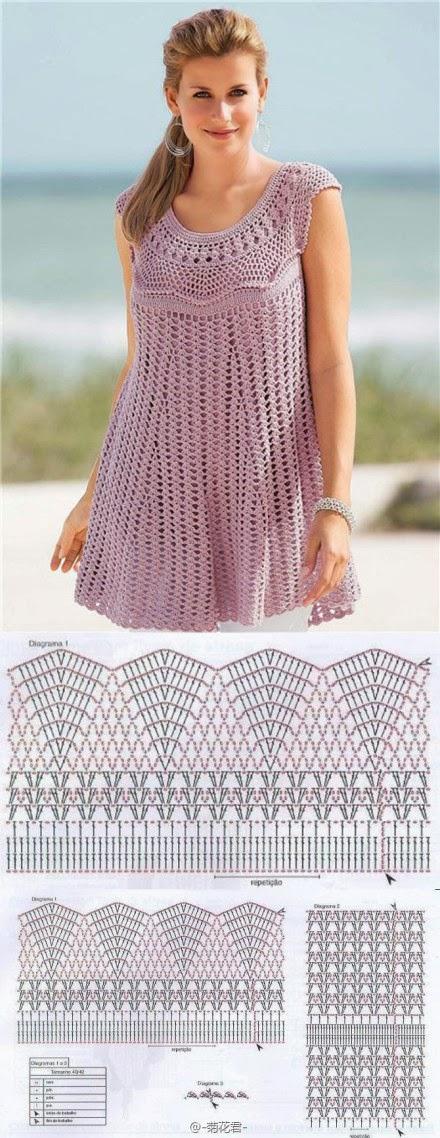 Vestido púrpura tejido con ganchillo con falda amplia