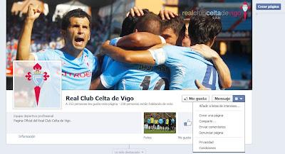 Imitación falsa del Facebook oficial del Celta