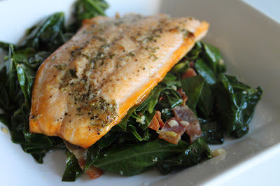 Broiled Arctic Char with Smoky Collard Greens