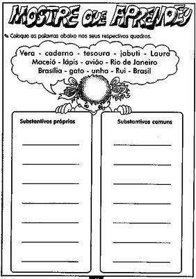 Atividades Para Trabalhar Substantivos Agora E A Vez Dos Substantivos
