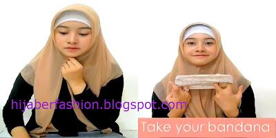 Langkah kedua, kenakan jilbab paris dengan bentuk segitiga dengan sisi ...