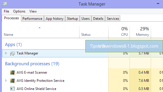 Task Manager di Windows 8.1