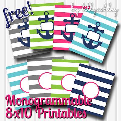 free download preppy stripe printables for monogram circle monogram