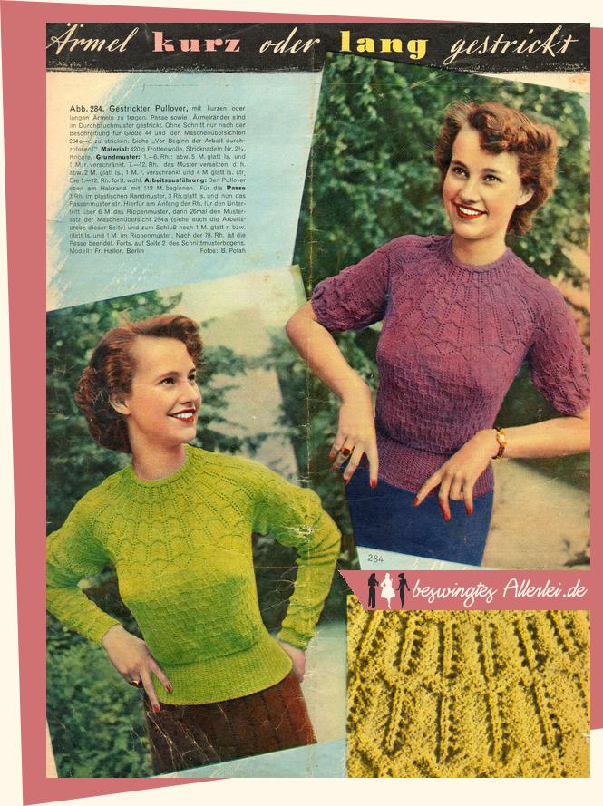 Pullover, 1950, Stricken, Anleitung, kostenlos, Vintage
