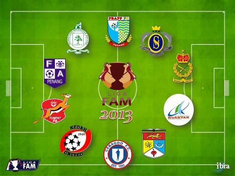 Pasukan Liga FAM 2013 (dari atas mengikut arah jam):