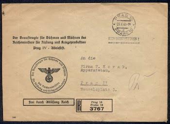 OJEDINĚLÝ POŠTOVNÉ-HISTORICKÝ MATERIÁL Z OBDOBÍ PROTEKTORÁTU ČECHY A MORAVA (1939-1945)