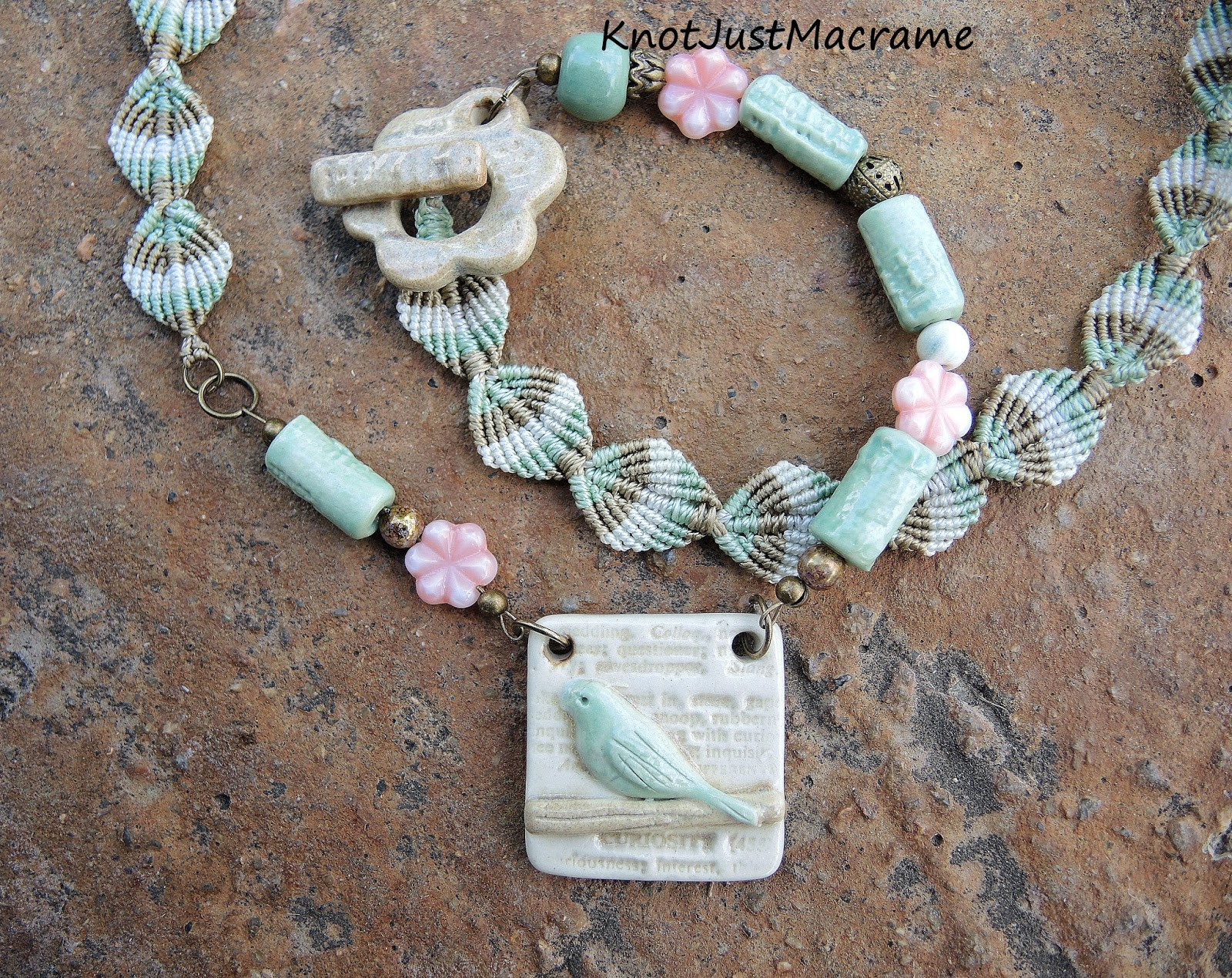 Necklace with micro macrame by Knot Just Macrame and ceramic components by Blu Mu