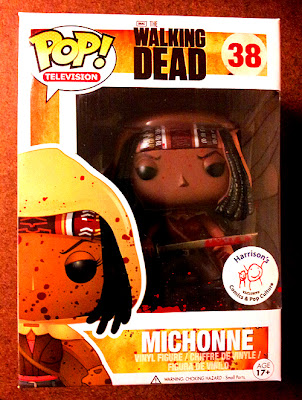 Harrison's Comics Exclusive The Walking Dead Blood Splattered Michonne Pop! Vinyl Figure by Funko