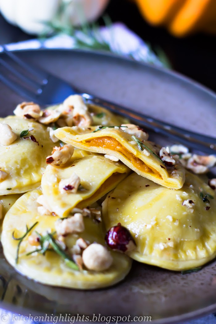 Pumpkin ravioli - the warm scent of toasted hazelnuts with the mingling flavors of rosemary and thyme complement each other in a perfect harmony
