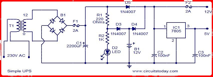 Skema rangkaian amplifier this is the circuit diagram of a simple ups that can deliver 12v unregulated and 5v regulated dc the transformer t1 steps down the mains voltage to 12v ac ccuart Gallery